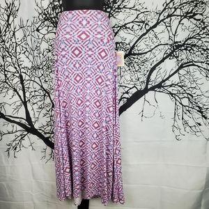 LuLaRoe Maxi Skirt Purple, Blue & White Print Sm